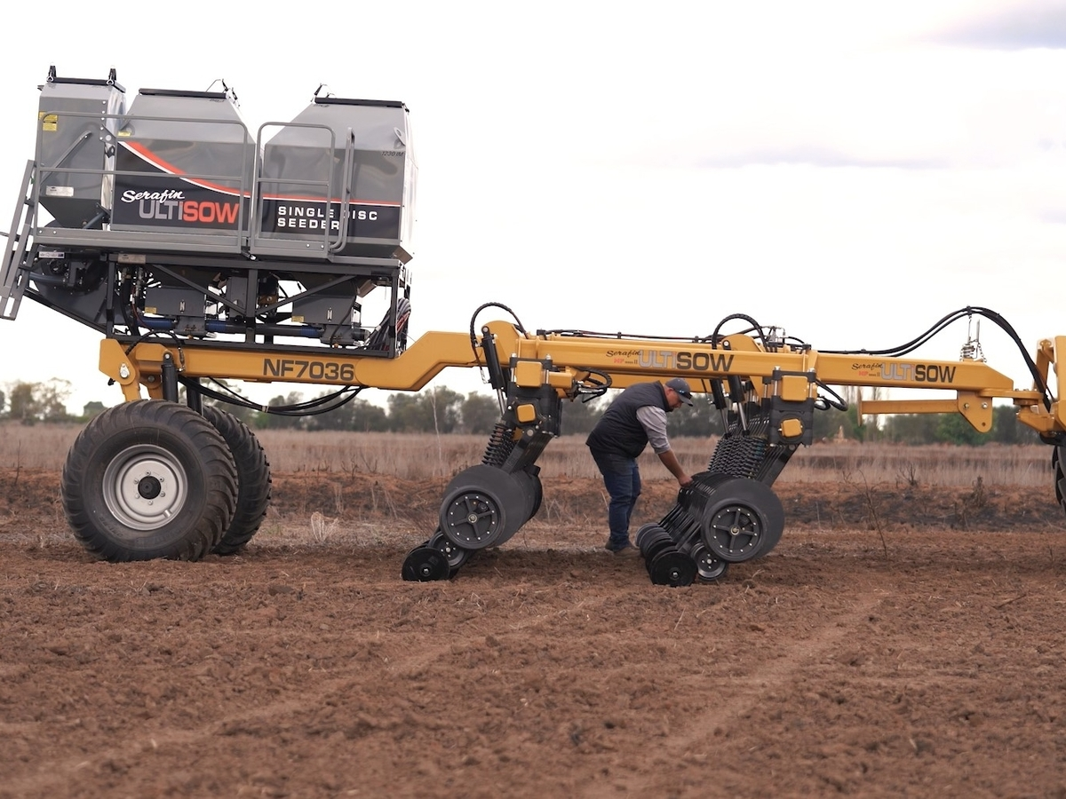 Narrowfold Hi Lift Seeder with Rodney as reference