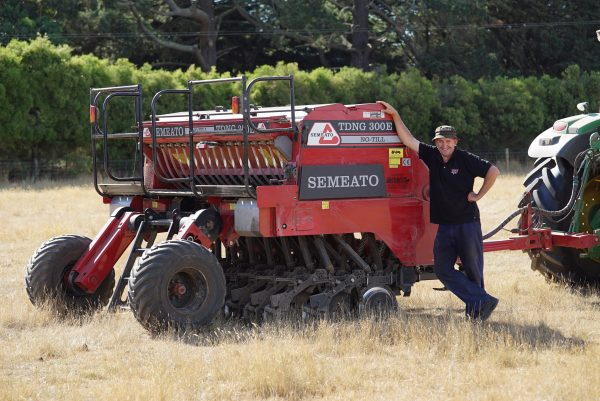 Semeato TDNG300e No-till double disc seeder with owner Philip Beattie