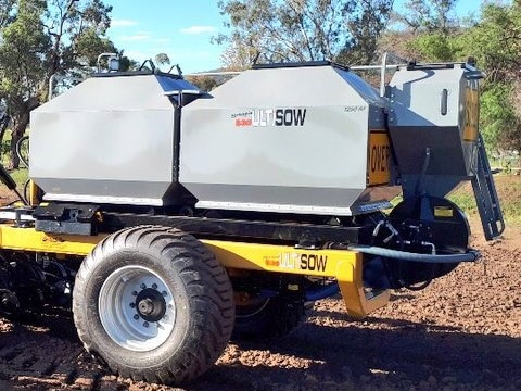 Ultisow S30 with Gason 1250IM rear mounted bin close up