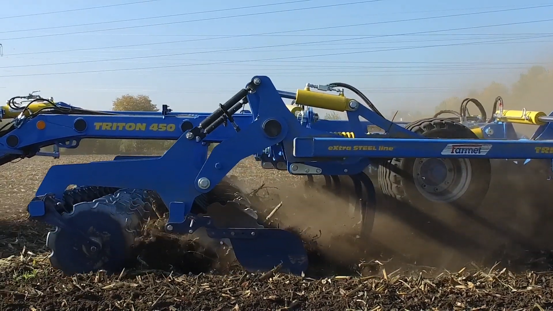 Farmet Triton Speed Disc Cultivator close up working from side